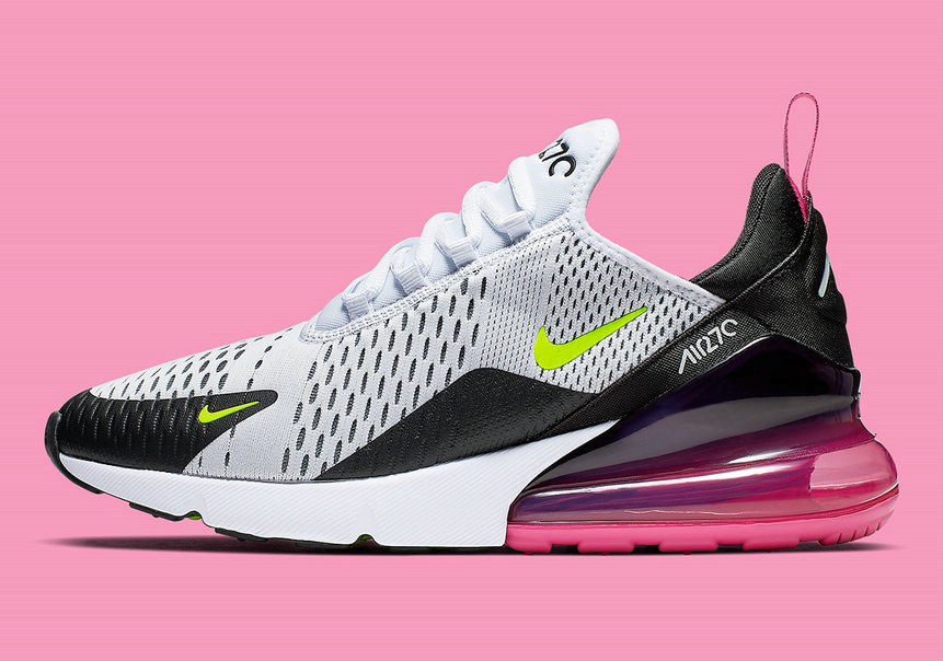 Where To Buy Cheap Nike Air Max 270 White Volt Black Laser Fuchsia Blanc Noir Volt AH8050-109 On VaporMaxRunning