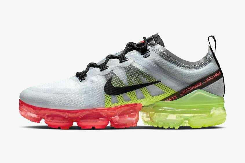 Where To Buy Cheap Nike Air VaporMax 2019 Retro Future Pure Platinum Black-Volt-Bright Crimson AR6631-007 On VaporMaxRunning