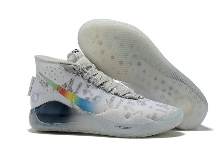 Where To Buy Cheap Nike KD 12 XII Flywire White Grey Multi-Color On VaporMaxRunning