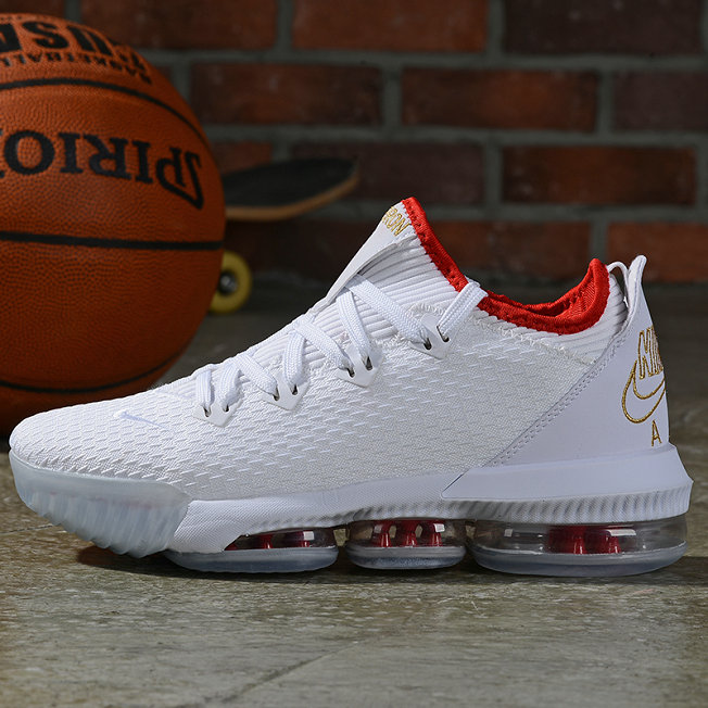 Where To Buy Cheap Nike LeBron 16 Low NBA Draft White Metallic Gold-University Red On VaporMaxRunning
