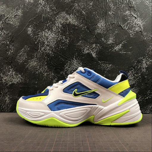 Where To Buy Cheap Nike M2K Tekno White Royal Fluorescent Green Blanc Vert AQ3109-116 On VaporMaxRunning