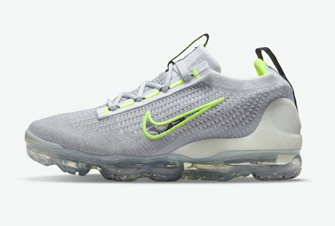 Where To Buy Cheap Nike Vapormax Flyknit 2021 Logo Pack Grey And Volt DH4085-001 On VaporMaxRunning