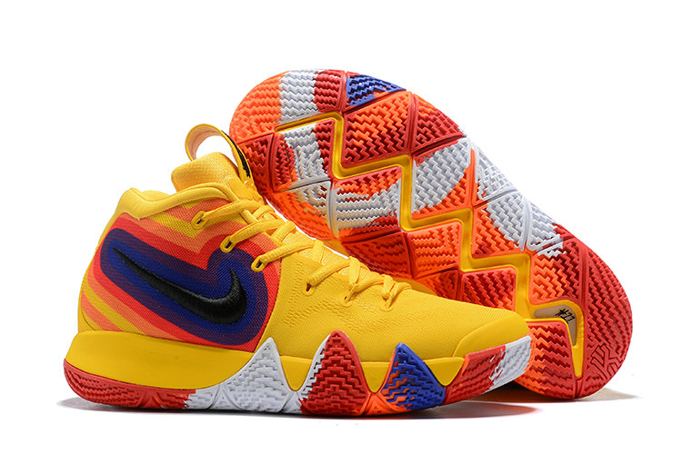 Cheap Where To Buy Nike Kyrie 4 70s 943807-700 Yellow Orange Purple and Red On VaporMaxRunning