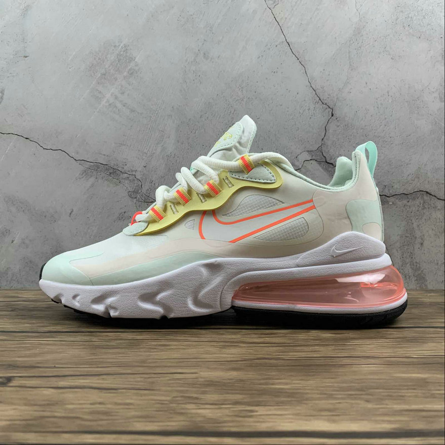 Where To Buy Womens 2021 Cheapest Nike Air Max 270 React Pale Ivory Summit White Green CV8818-102 On VaporMaxRunning