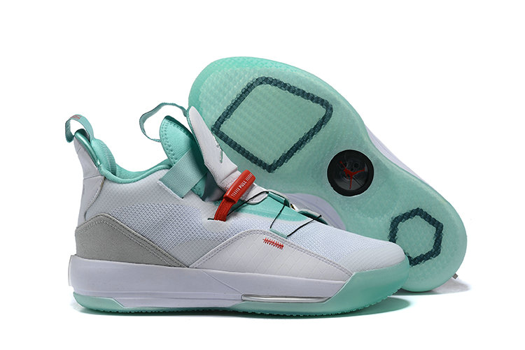 Womens 2019 Cheap Nike Air Jordan 33 White Jade Grey On VaporMaxRunning