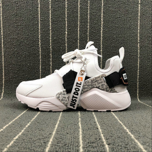 Womens Cheap NIKE AIR HUARACHE CITY LOW Just du it AO3140-100 White Black Total Orange Blanc