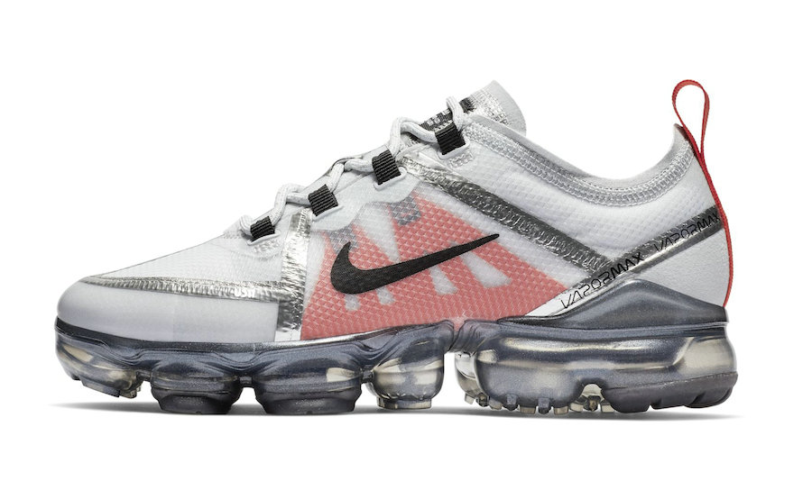 40143cc8def7 Womens Cheap Nike Air VaporMax 2019 Premium Silver White Red Black On  VaporMaxRunning
