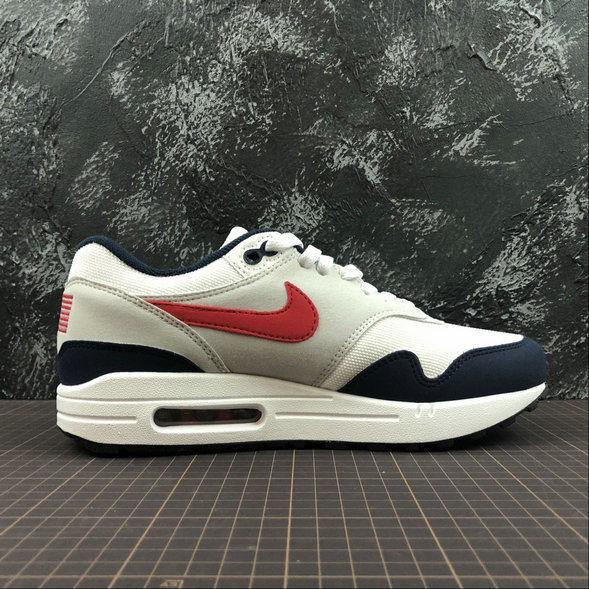Womens Nike Air Max 1 875844-006 WHT VRSTY RED MN NAVY LTZENGY BLA RPRO NAVY GRICLA