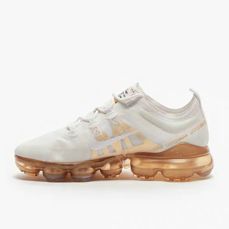 Womens Nike Air VaporMax 2019 Premium White White-Metallic Gold AR6632-101 On VaporMaxRunning