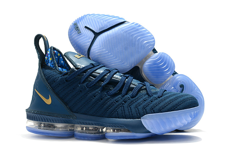 Womens Nike Lebrons 16 Cheap Navy Blue Gold