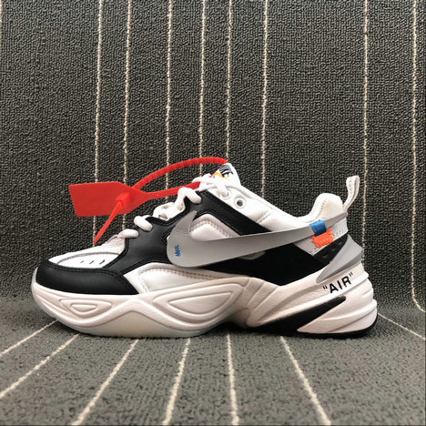 Womens Nike M2K Tekno x Off White AO3108-062 Black White Grey Noir Blanc Gris On VaporMaxRunning