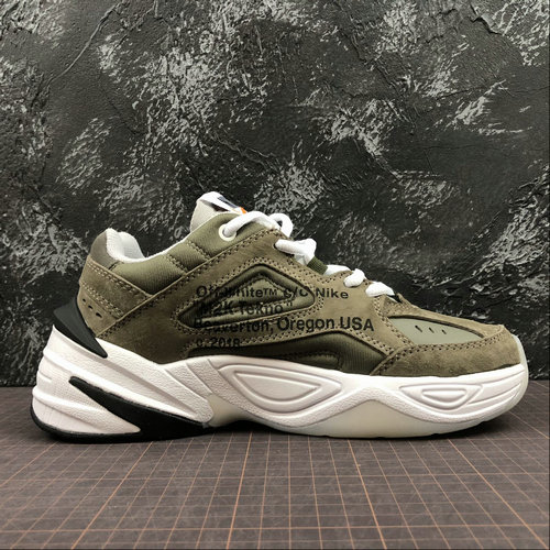 Cheap Womens Nike M2K Tekno x Off White AO3108-580 Phantom Oil Grey Matte Silver Fantome Gris Petrole On VaporMaxRunning