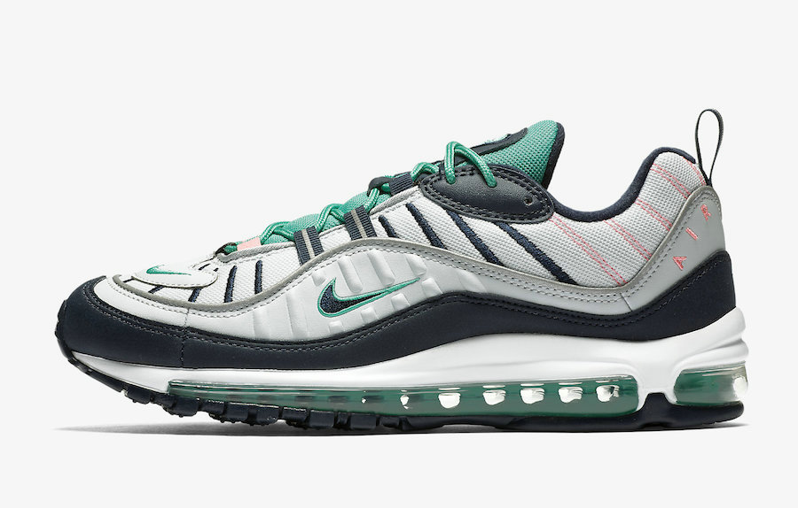 Womens Nikes Air Max 98 South Beach 640744-005 Pure Platinum Obsidian-Kinetic Green On VaporMaxRunning