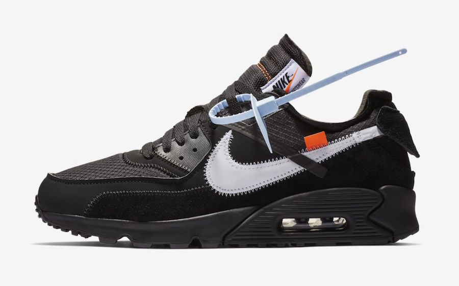 Womens Off-White x Nike Air Max 90 Black-Cone-White-Black AA7293-001 On VaporMaxRunning