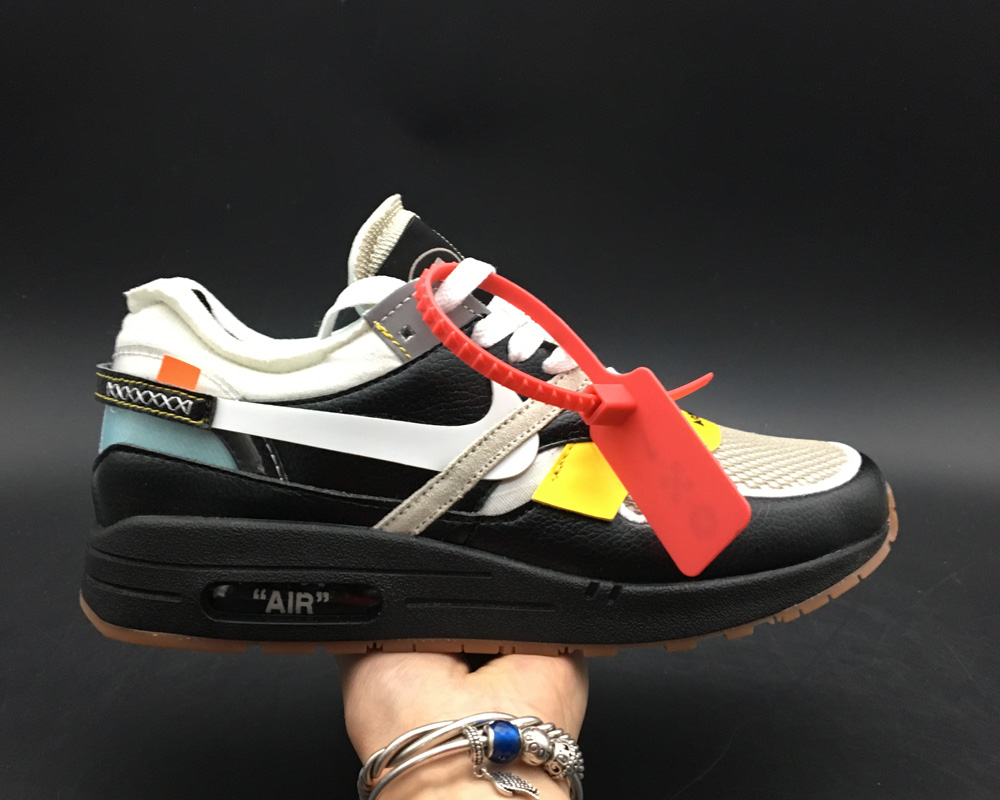Womens Virgil Abloh x BespokeIND Create Off-White X Nike Air Max 1s Black Leather On VaporMaxRunning