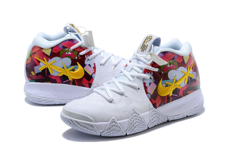 new arrival 6b716 fcafc ... 2018 Nike Kyrie Shoes x Cheap Nike Kyrie 4 White Gold Colorful On  VaporMaxRunning ...