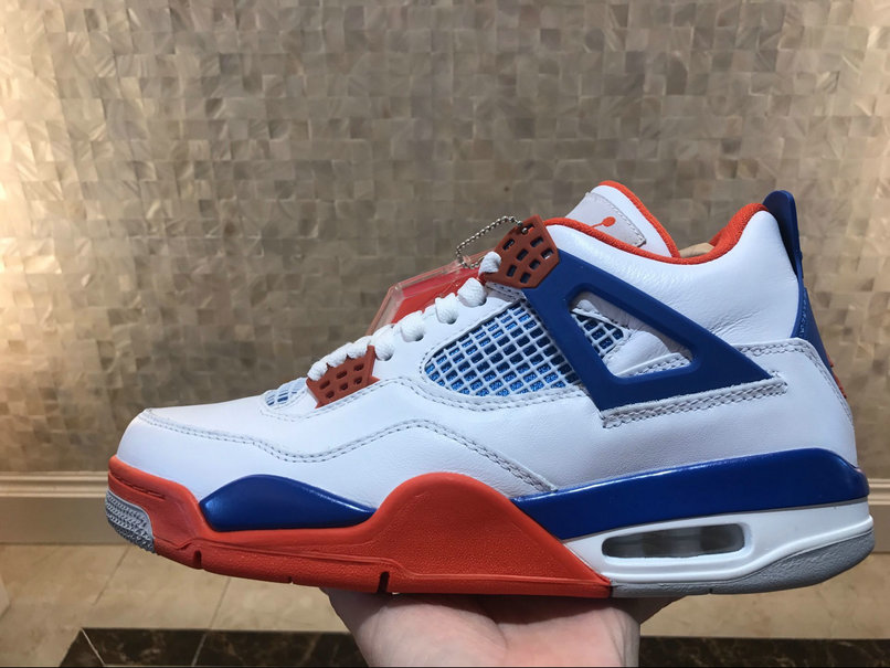 Air Jordan 4 Retro White Game Royal Orange Blanc Noir Orange On VaporMaxRunning