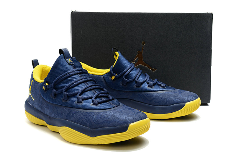 New 2018 Air Jordans Cheap x Air Jordan Superfly 2017 Yellow Navy Blue On VaporMaxRunning