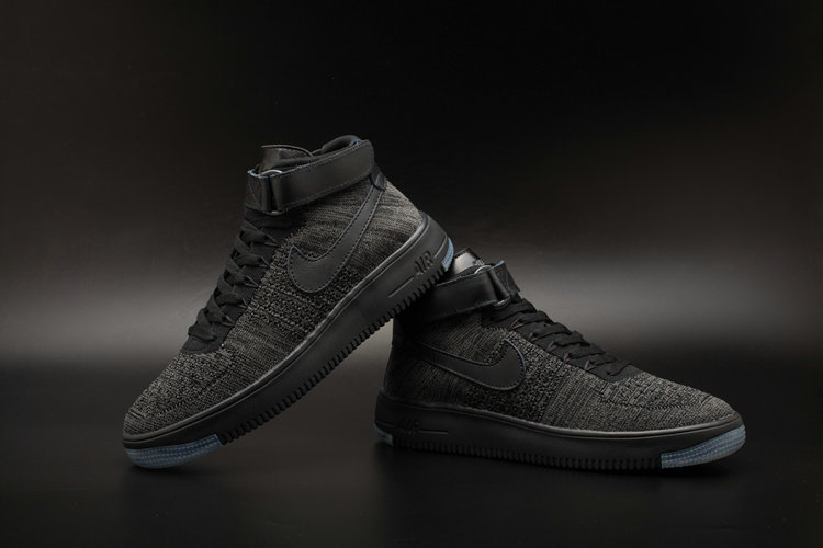 New 2018 Nike AF1 Cheap x Nike Air Force One Ultra Flyknit Mid Black Dark Grey On VaporMaxRunning