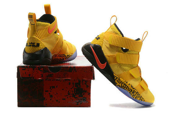 Cheap Nike Lebr On Soldier 11 Air Cushion Yellow Orange BlackOn VaporMaxRunning