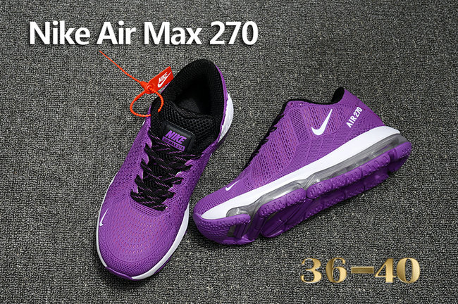Cheap Womens Nike Air Max 270 Purple White Black On