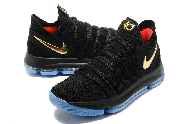 Mens Cheap Nike Kevin Durant 10 Gold Black Baby Blue On VaporMaxRunning