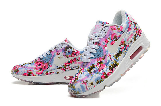 ... Nike Air Max 90 Floral Print Womens Jade Wild Rose Training Shoes On  VaporMaxRunning ...