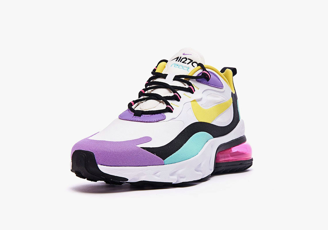 Where To Buy Cheap Nike Air Max 270 React Bright Violet White Dynamic Yellow-Black-Bright Violet AO4971-101 On VaporMaxRunning