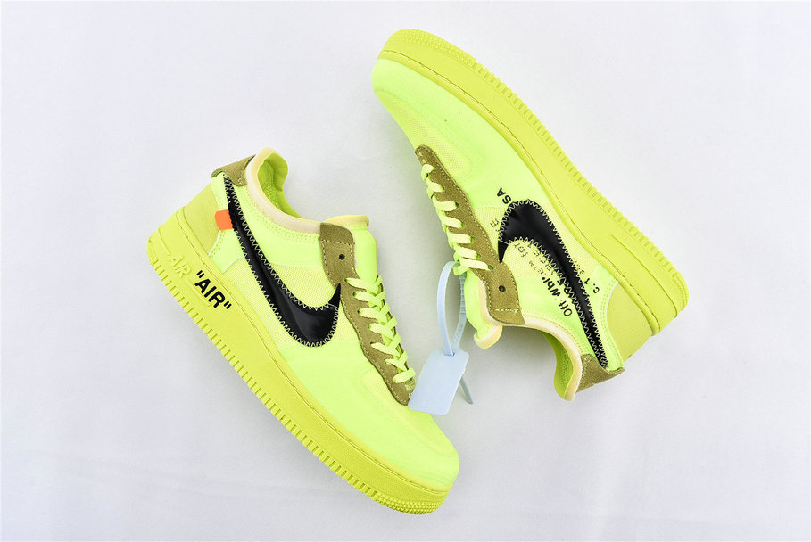 Where To Buy Cheap Off-White x Nike Air Force 1 Low Volt Black-Volt-Cone AO4606-700 On VaporMaxRunning